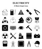 Electricity icons set for web and mobile Royalty Free Stock Photos