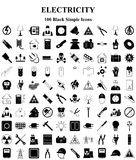 Electricity icons set for web and mobile. Electricity 100 icons set for web and mobile royalty free illustration