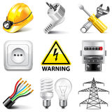 Electricity icons vector set Stock Images