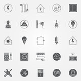 Electricity icons vector set Royalty Free Stock Photos