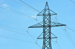 Electricity. An image of power transmission lines and a tower Royalty Free Stock Images