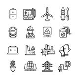 Electricity industry, electrical engineering vector line icons Stock Photo