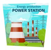 Electricity industry, power station and energy. Power stations and electricity industry, electrical energy production and nuclear plant. Vector electric factory royalty free illustration