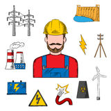 Electricity industry sketch with power icons Royalty Free Stock Photography