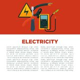 Electricity informative poster with equipment and sample text Stock Photos
