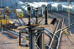 Electricity insulators Stock Photos