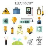 Electricity isolated icons energy generation equipment electrician tools. Electrician tools electricity power and energy generation equipment and solar batteries stock illustration
