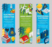 Electricity Isometric Banner Set Royalty Free Stock Photo