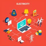 Electricity isometric chart composition. Electricity isometric composition with elements of chart and branches from laptop to elements vector illustration Royalty Free Stock Image