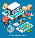 Electricity Isometric Colored 3d Composition. With electric appliances online headline 3d style vector illustration stock illustration