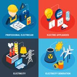 Electricity Isometric 3d Icon Set. Four electricity isometric 3d icon set with professional electrician electric appliances and electricity generation Stock Photos