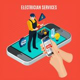 Electricity Isometric Red Composition. With electrician services description and call a professional electrician via smartphone vector illustration Stock Image