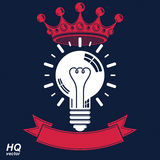 Electricity light bulb symbol with crown, insight emblem. Vector Royalty Free Stock Photo