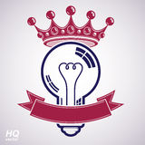 Electricity light bulb symbol with crown, insight emblem. Vector. Royal conceptual icon. Best idea award icon with curvy ribbon. Brilliant idea graphic web Stock Image