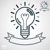 Electricity light bulb symbol, insight emblem. Vector brain storm conceptual icon - corporate problem solution theme. Best idea award icon with curvy ribbon Stock Photography