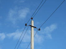 Electricity line and blue sky. Electricity pylon and blue sky royalty free stock photos
