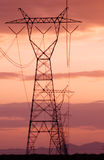 Electricity lines with sunset skies Stock Photos