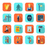 Electricity man professional flat icons collection Stock Photo