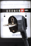 Electricity meter and plug connector Royalty Free Stock Images