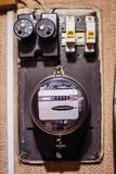 Electricity meter on the wall royalty free stock images