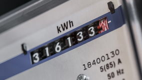 Electricity meter zoom in stock video footage