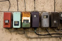 Electricity meters. On the wall of a house Royalty Free Stock Photo