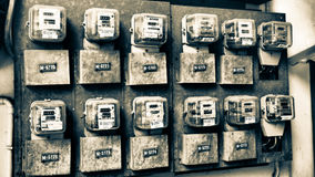 Free Electricity Meters Of Old Apartment. Stock Images - 93022824