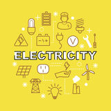 Electricity minimal outline icons Stock Photos