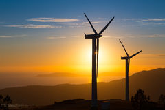 Electricity. Mountain wind farm in Galicia, produces free electricity CO2 emissions stock photography