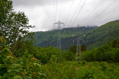 Electricity in mountains Stock Photography
