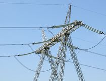 Electricity pillar. High-voltage line Stock Images