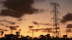 Electricity pillars, sunrise timelapse, stock footage stock footage