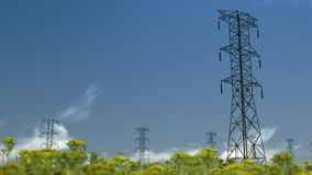 Electricity pillars, timelapse clouds, stock footage