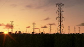 Electricity pillars, timelapse sunrise, night to day, stock footage stock video footage