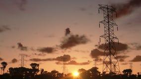 Electricity pillars, timelapse sunrise, stock footage stock video