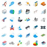 Electricity pipe icons set, isometric style. Electricity pipe icons set. Isometric style of 36 electricity pipe vector icons for web isolated on white background Stock Photos