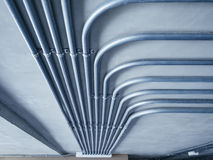 Electricity Pipe system on Cement Wall Royalty Free Stock Photos