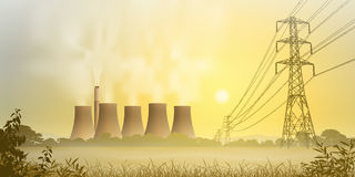 Electricity Plant. Electrical Power Lines and Electricity Plant with Cooling Towers Stock Photos