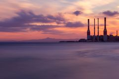 Free Electricity Plant In Cyprus Stock Photo - 113436620