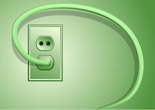 Electricity. Plug and cable on green background Royalty Free Stock Image