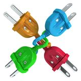 Electricity Plugs Cross Colors Royalty Free Stock Photo