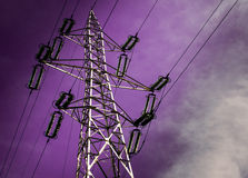 Electricity Pole. With purple sky Royalty Free Stock Images