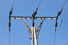 Electricity pole close-up Royalty Free Stock Photography