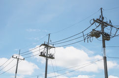Electricity pole, electricity pylons Stock Photos