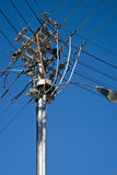 Electricity pole with wires Stock Photos