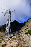 Electricity poles in  mountain Royalty Free Stock Photography