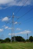 Electricity poles in nature Stock Image