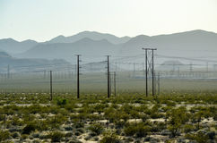 Electricity poles, shrubs, mountain, highway, Nevada Stock Images