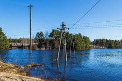 The electricity poles in the water Royalty Free Stock Image