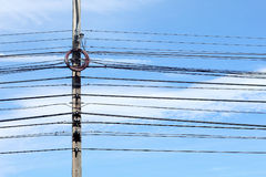 Electricity poles and wires Stock Image